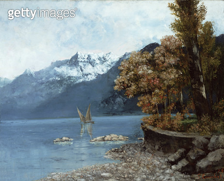 <b>Title</b> : Lake Leman, 1874 (oil on canvas)<br><b>Medium</b> : oil on canvas<br><b>Location</b> : Private Collection<br> - gettyimageskorea
