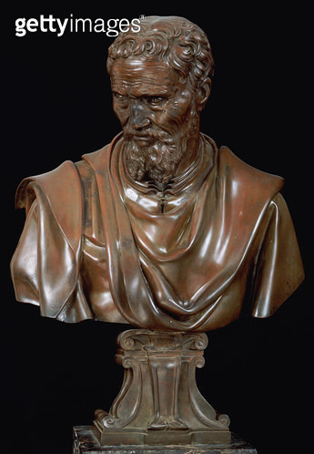 <b>Title</b> : Portrait Bust of Michelangelo Buonarroti (1475-1564) (bronze)<br><b>Medium</b> : <br><b>Location</b> : Museo Nazionale del Bargello, Florence, Italy<br> - gettyimageskorea