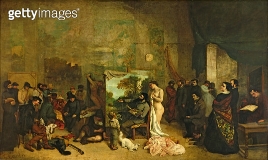 <b>Title</b> : The Studio of the Painter, a Real Allegory, 1855 (oil on canvas)<br><b>Medium</b> : oil on canvas<br><b>Location</b> : Musee d'Orsay, Paris, France<br> - gettyimageskorea