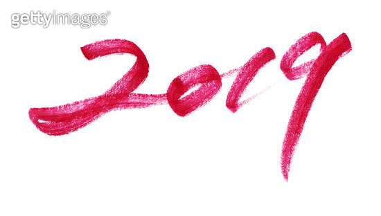 Vector year of 2019 with brush strokes isolated - gettyimageskorea