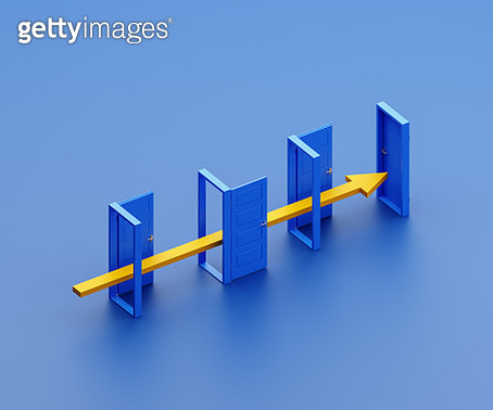 Arrow being stopped by closed door - gettyimageskorea