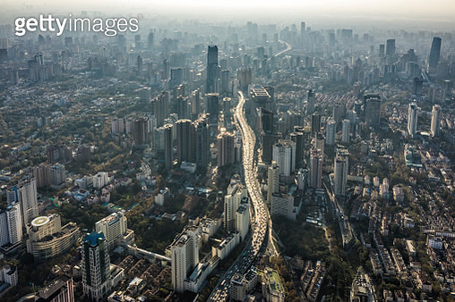 Aerial View of Shanghai Highway - gettyimageskorea
