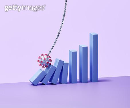 Virus wrecking ball crashing into a bar graph - gettyimageskorea