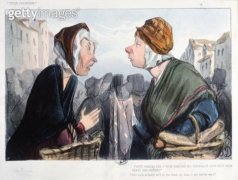 <b>Title</b> : 'A nasty cold in the head', caricature from 'Types Parisiens', mid 19th century (colour litho)Additional Info'je suis enrube du<br><b>Medium</b> : colour lithograph<br><b>Location</b> : Bibliotheque des Arts Decoratifs, Paris, France<br> - gettyimageskorea