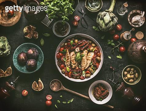Grilled chicken breast with Mediterranean ingredients sauce - gettyimageskorea