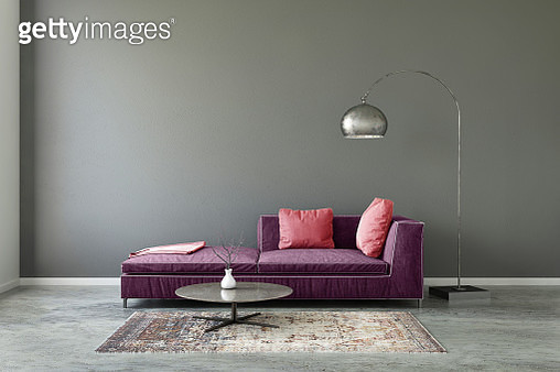 Interior scene with pastel colored sofa with colorful pillows, blank wall for copy space. Modern interior template for copy space. Floor lamp, carpet and coffee table with  vase. - gettyimageskorea
