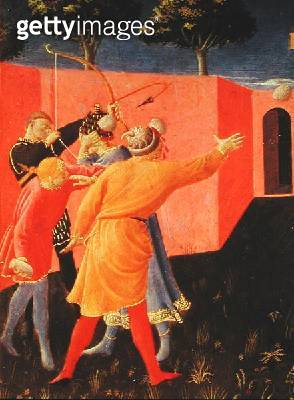 <b>Title</b> : The Crucifixion and Stoning of SS. Cosmas and Damian, detail of their tormentors, predella from the Annalena Altarpiece, 1434 (t<br><b>Medium</b> : tempera on panel<br><b>Location</b> : Church of San Marco, Florence, Italy<br> - gettyimageskorea