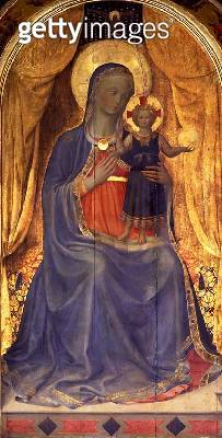 <b>Title</b> : The Linaiuoli Triptych, detail of the Virgin and Child Enthroned, 1433 (tempera on panel) (see also 76093)<br><b>Medium</b> : tempera on panel<br><b>Location</b> : Church of San Marco, Florence, Italy<br> - gettyimageskorea