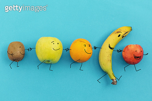 happy colorful fruits walking together - gettyimageskorea