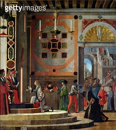 <b>Title</b> : The Departure of the English Ambassadors, from the St. Ursula cycle, 1498 (oil on canvas)<br><b>Medium</b> : oil on canvas<br><b>Location</b> : Galleria dell' Accademia, Venice, Italy<br> - gettyimageskorea