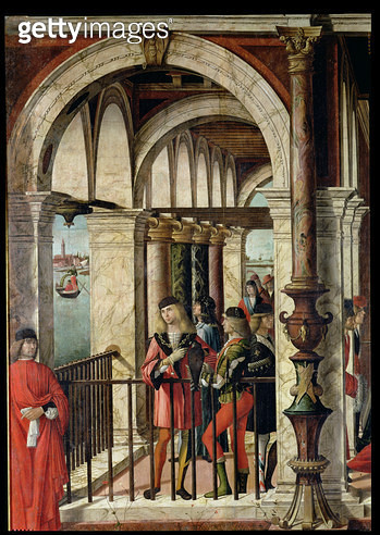 <b>Title</b> : The Arrival of the English Ambassadors, detail, from the St. Ursula cycle, 1498 (oil on canvas) (detail of 119435)<br><b>Medium</b> : <br><b>Location</b> : Galleria dell' Accademia, Venice, Italy<br> - gettyimageskorea