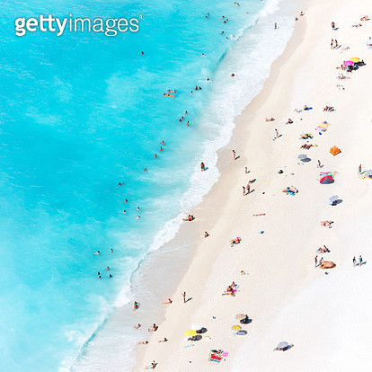 Aerial view of beach crowded with tourists, Greece - gettyimageskorea