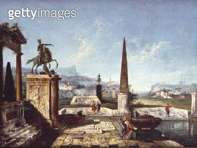 A Capriccio of Classical Monuments/ an Obelisk with Soldiers by a Pool and Mountains Beyond (oil on canvas) - gettyimageskorea