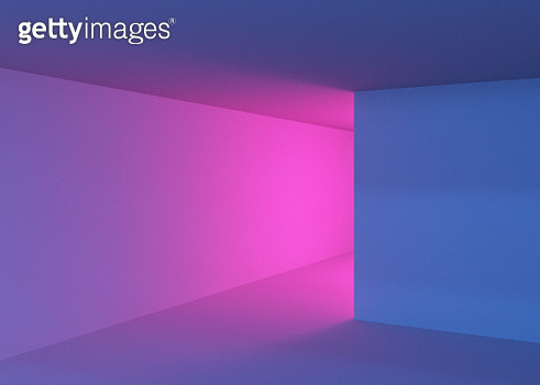 Playing with colorful lights in indoor spaces with creative and minimal style. - gettyimageskorea
