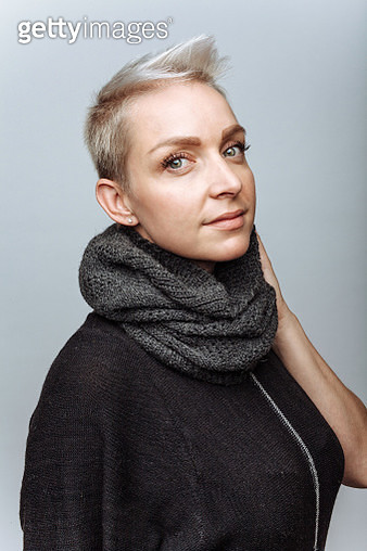 Young beautiful woman wearing scarf - gettyimageskorea