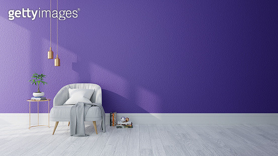 Modern Interior Of Living Room ,Ultraviolet Home Decor Concept, Gray Armchair On Purple Wall - gettyimageskorea
