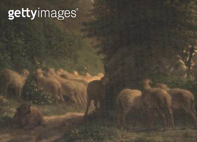 <b>Title</b> : Sheep grazing along a hedgerow<br><b>Medium</b> : oil on canvas<br><b>Location</b> : Private Collection<br> - gettyimageskorea