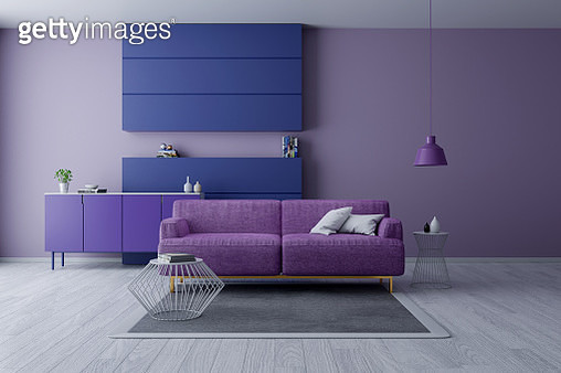 Modern And Minamalist Interior ,Ultraviolet Home Decor Concept, Purple Armchair On Purple Wall - gettyimageskorea