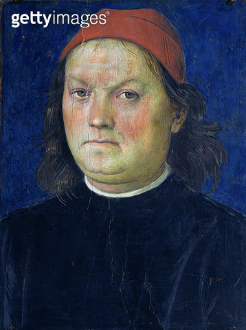 <b>Title</b> : Self Portrait, from the Sala dell'Udienza, 1496-1500 (fresco)<br><b>Medium</b> : <br><b>Location</b> : Collegio del Cambio, Perugia, Italy<br> - gettyimageskorea