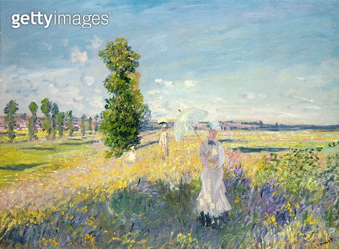 <b>Title</b> : The Walk (Argenteuil), c.1872-75<br><b>Medium</b> : oil on canvas<br><b>Location</b> : Private Collection<br> - gettyimageskorea
