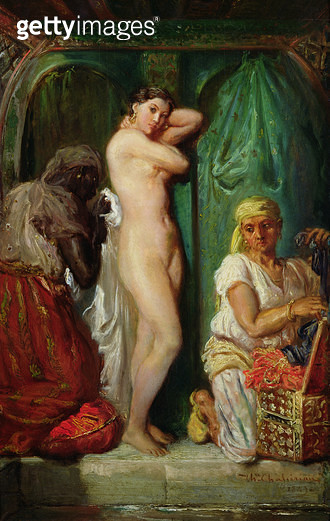 <b>Title</b> : The Bath in the Harem, 1849 (oil on canvas)<br><b>Medium</b> : oil on canvas<br><b>Location</b> : Louvre, Paris, France<br> - gettyimageskorea