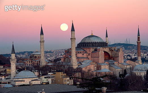 the suoer moon rise over Hagia Sophia Chruch near Blue mosque in istanbul Turkey - gettyimageskorea