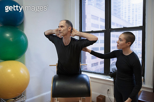 Senior man exercising at pilates studio - gettyimageskorea