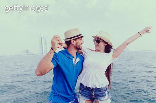 Friends having fun on a yacht in Dubai - gettyimageskorea