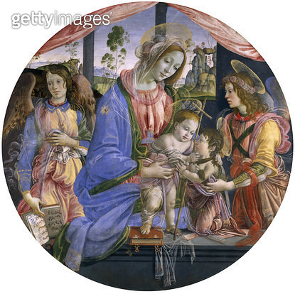 <b>Title</b> : The Madonna and Child with the Infant St. John and Two Angels, mid-1480s (tempera on panel)<br><b>Medium</b> : tempera on panel<br><b>Location</b> : Art Gallery and Museum, Kelvingrove, Glasgow, Scotland<br> - gettyimageskorea
