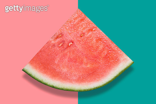 High Angle View Of Watermelon Over Colored Background - gettyimageskorea