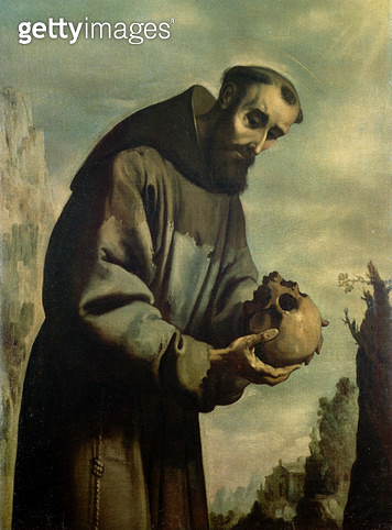 <b>Title</b> : St. Francis in Meditation (oil on canvas)<br><b>Medium</b> : <br><b>Location</b> : Private Collection<br> - gettyimageskorea