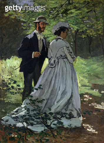 <b>Title</b> : The Promenaders, or Bazille and Camille, 1865 (oil on camille)<br><b>Medium</b> : oil on canvas<br><b>Location</b> : National Gallery of Art, Washington DC, USA<br> - gettyimageskorea
