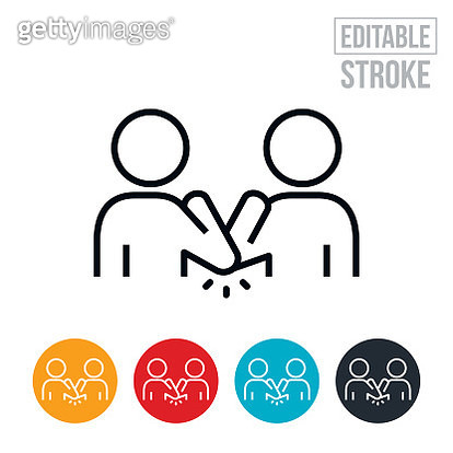 An icon of two people doing an elbow bump to practice social distancing in order to prevent the spread of an infectious disease. The icon includes editable strokes or outlines using the EPS vector file. - gettyimageskorea