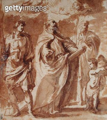 <b>Title</b> : St. Gregory of Nazianzus (c.335-390) St. Maurice (d.c.287) and St. Papien (pen & ink and gouache on paper)Additional Infoformerl<br><b>Medium</b> : pen and ink and gouache on paper<br><b>Location</b> : Musee Conde, Chantilly, France<br> - gettyimageskorea