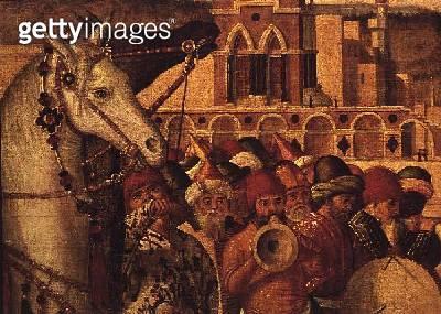 <b>Title</b> : Triumph of St.George, 1501-07 (oil on canvas) (detail of 60265)<br><b>Medium</b> : oil on canvas<br><b>Location</b> : Scuola di San Giorgio degli Schiavoni, Venice, Italy<br> - gettyimageskorea