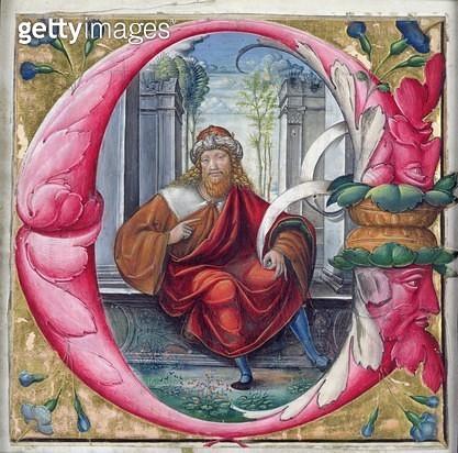 <b>Title</b> : Historiated initial 'C' or 'O' depicting King David (vellum)<br><b>Medium</b> : vellum<br><b>Location</b> : Musee Marmottan, Paris, France<br> - gettyimageskorea