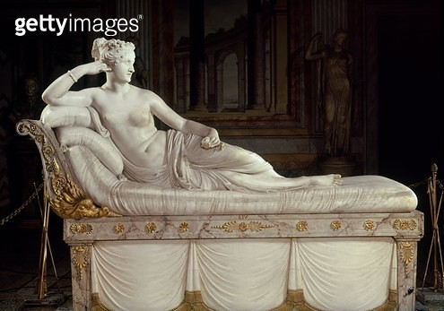 <b>Title</b> : Pauline Bonaparte (1780-1825) as Venus Triumphant, c.1805-08 (marble)<br><b>Medium</b> : marble<br><b>Location</b> : Galleria Borghese, Rome, Italy<br> - gettyimageskorea