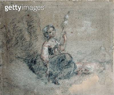 <b>Title</b> : A Young Shepherdess Spinning (red & white chalk and charcoal on paper)<br><b>Medium</b> : red and white chalk and charcoal on paper<br><b>Location</b> : Musee d'Art Thomas Henry, Cherbourg, France<br> - gettyimageskorea