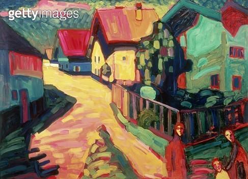 <b>Title</b> : The Road to Murnau, 1909<br><b>Medium</b> : <br><b>Location</b> : Private Collection<br> - gettyimageskorea