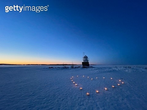Valentine On A Frozen Lake At Sunset - gettyimageskorea