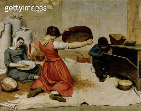 <b>Title</b> : The Winnowers, 1855 (oil on canvas)<br><b>Medium</b> : oil on canvas<br><b>Location</b> : Musee des Beaux-Arts, Nantes, France<br> - gettyimageskorea