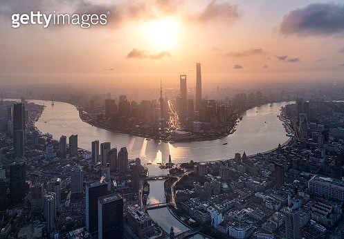 aerial view of shanghai bund at sunrise - gettyimageskorea
