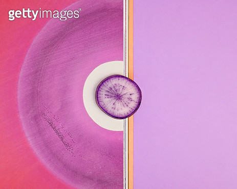 Purple daikon radish with abstract background - gettyimageskorea