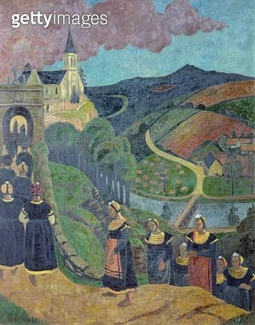 <b>Title</b> : The Pardon of Notre-Dame-des-Portes at Chateauneuf-du-Faou, c.1894 (oil on canvas)<br><b>Medium</b> : oil on canvas<br><b>Location</b> : Musee des Beaux-Arts, Quimper, France<br> - gettyimageskorea