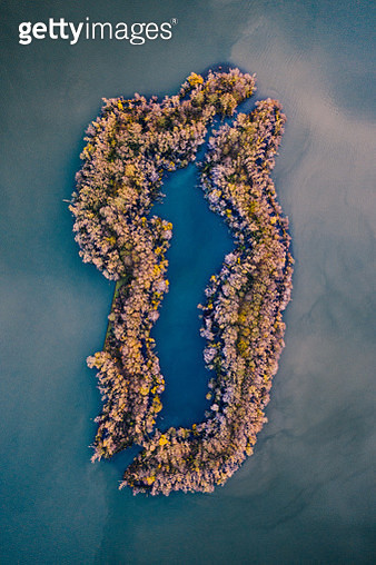 Aerial shot of an unusual island in a lake, Netherlands - gettyimageskorea