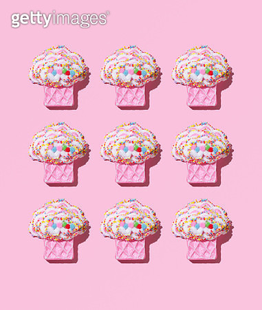 Close-Up Of Desserts On Pink Background - gettyimageskorea