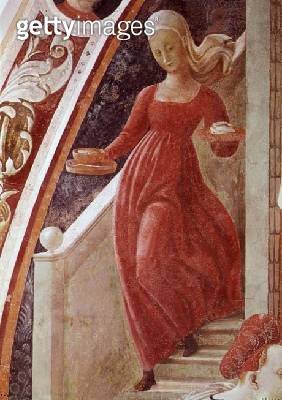 <b>Title</b> : The Birth of the Virgin, detail of a maid servant descending a staircase, from the fresco cycle of The Lives of the Virgin and S<br><b>Medium</b> : <br><b>Location</b> : Duomo, Prato, Italy<br> - gettyimageskorea