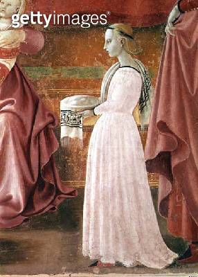 <b>Title</b> : The Birth of the Virgin, detail of a standing maid servant from the fresco cycle of the Lives of the Virgin and St. Stephen, fro<br><b>Medium</b> : <br><b>Location</b> : Duomo, Prato, Italy<br> - gettyimageskorea