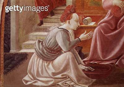 <b>Title</b> : The Birth of the Virgin, detail of a seated maid servant, from the fresco cycle of the Lives of the Virgin and St. Stephen from<br><b>Medium</b> : fresco<br><b>Location</b> : Duomo, Prato, Italy<br> - gettyimageskorea