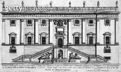 <b>Title</b> : View of the facade of Palazzo Senatorio in Piazza del Campidoglio, Rome, begun by Michelangelo Buonarroti (1475-1564) and comple<br><b>Medium</b> : engraving<br><b>Location</b> : Private Collection<br> - gettyimageskorea
